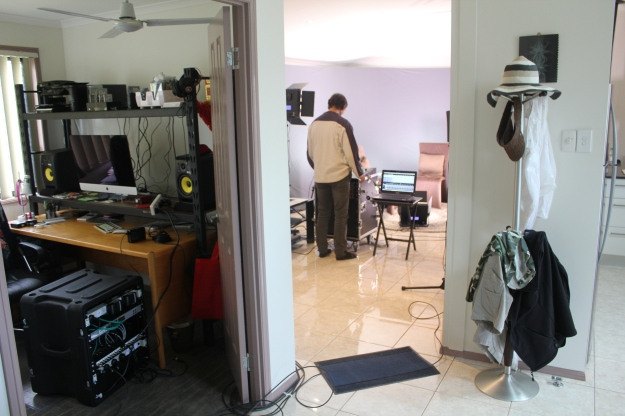 Editing equipment and filming set-up in Lena & Igor's home