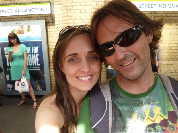 We never have photos of the two of us! Here we are at the tube station in England in 2013!! As you can see Jesus doesn't love selfies.