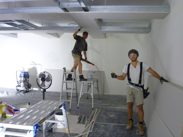 The guys put in the hanging ceiling in the studio