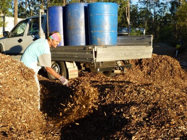 Jesus prepares a hole in our front garden to bury scraps in.